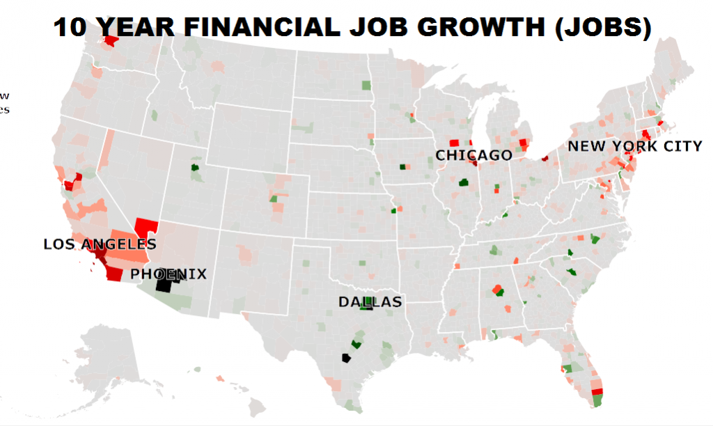 Financial sector jobs have seen declines in many major areas.