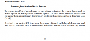 screen shot of study saying Specifically, we use the SCF to estimate the amount of taxable publicly-traded corporate stock held by U.S. persons in 2016. We then assume an imputed nominal rate of return of 8.33 percent,